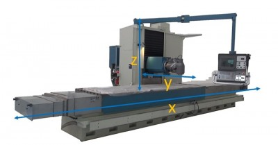 Axes of a CNC bed milling machine refurbished by Nicolás Correa Service